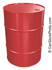Oil Barrel. - Red Oil Barrel, Metal Lid. Isolated.