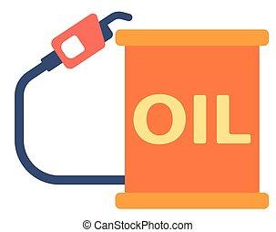Oil barrel with gas pump.