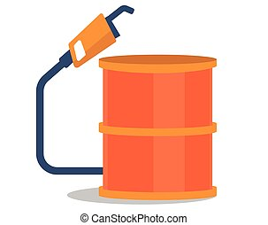 Oil barrel with gas pump vector illustration.