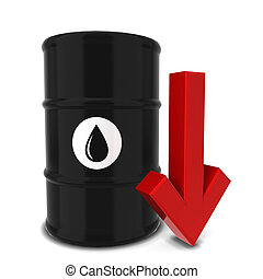 Oil barrel with red arrow