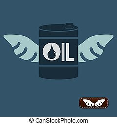 Oil barrel with wings, vector illustration