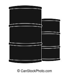 Oil barrels icon in black style isolated on white background. Oil industry symbol stock bitmap, rastr illustration.