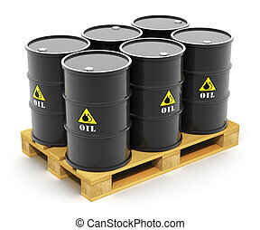 Oil barrels on shipping pallet - Oil and gas industry...