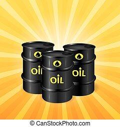 Oil barrels on sunray background