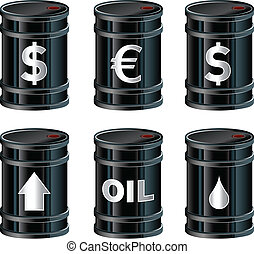 Oil barrels vector - A set of glossy black vector oil ...