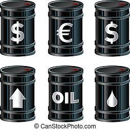 Oil barrels vector - A set of glossy black vector oil...