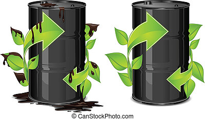 Metal oil barrels with green arrow on white background, environment concept, vector illustration