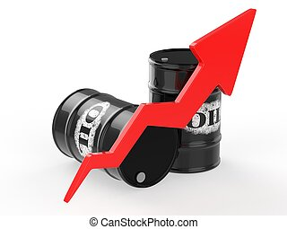 Oil Barrels with Red Arrow Up.