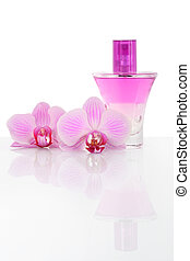 Oil base perfume and orchid flowers