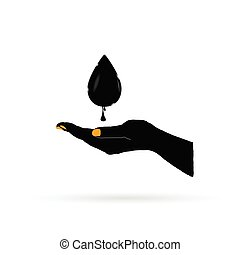 oil black gold in hand vector