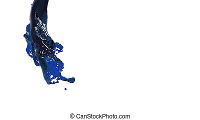 oil. blue fluid stream on white background.