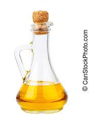 Oil bottle on white