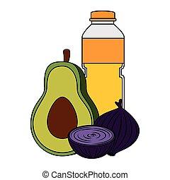 oil bottle with vegetables
