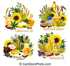 Oil bottles with corn, sunflower seed and olives - Natural ...