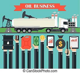 Oil business concept design flat with gasoline tanker car