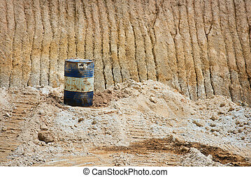 Oil can on sand mines