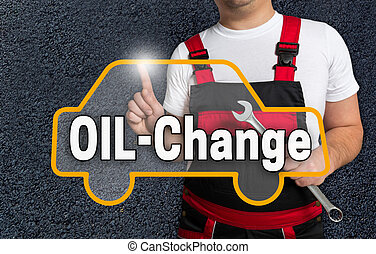oil change touchscreen is operated by car mechanics.