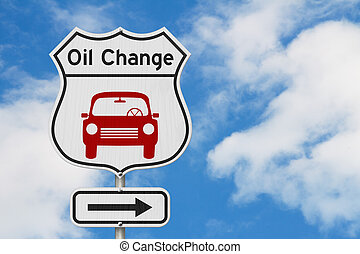 Oil change with car route 66 USA highway road sign