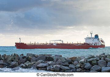 oil chemical tanker  ship arrives in port