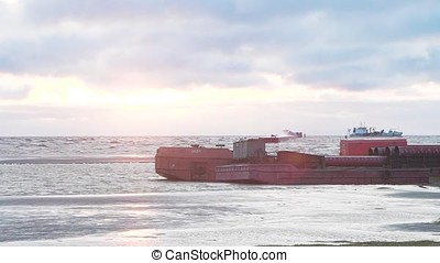 Oil chemical tanker under cargo operations on typical shore station. Video. Cargo tanker on the shore