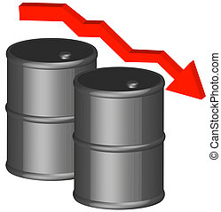 oil concept - 3d - barrel or fifty gallon drum with dropping...