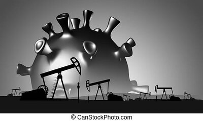 Oil crisis concept - Oil pumps on background of the sun in ...