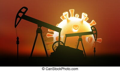 Oil pumps on background of the sun in shape of cronavirus.  Impact of  covid-19 on oil and gas market. 3d render.