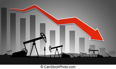 The collapse of the market and the stock exchange due to covid-19 coronavirus. Oil pumps  and graph. Seamless loop video.