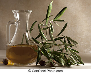 Oil Cruet with Olive Branch