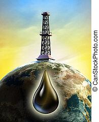 Oil derrick - Conceptual image showing a derrick tower...