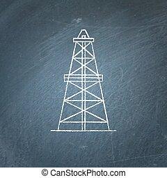 Oil derrick icon chalkboard sketch - Oil derrick icon sketch...