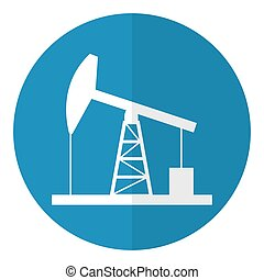 Oil derrick icon. Flat style. Vector illustration.