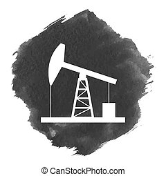Oil derrick icon. Flat style. Vector illustration.Watercolor...