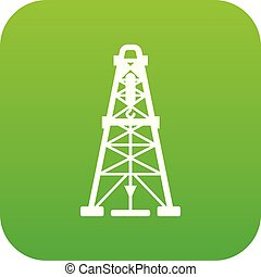 Oil derrick icon green vector isolated on white background