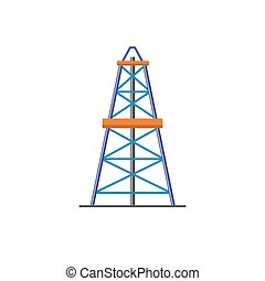 Oil derrick icon in flat style