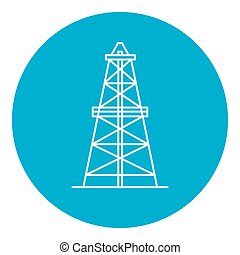Oil derrick icon in thin line style. Rig for exploration and...