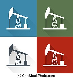 Oil derrick icon. - Oil derrick flat icon with long shadow.