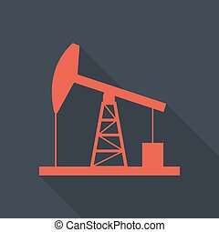Oil derrick icon. - Oil derrick flat style icon with long...