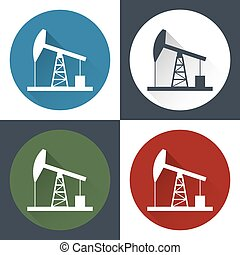 Oil derrick icon. - Oil derrick, round flat icon with long...