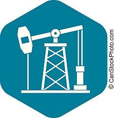 Oil derrick icon, simple style - Oil derrick icon. Simple...