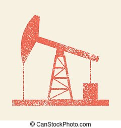 Oil derrick icon. Vintage style vector illustration. - Oil...