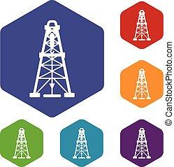 Oil derrick icons vector hexahedron - Oil derrick icons...