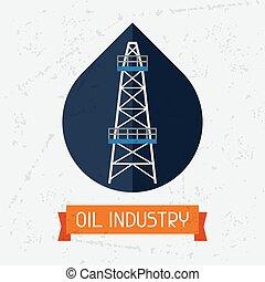 Oil derrick in oilfield background. Industrial illustration...