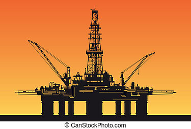 Oil derrick in sea for industrial design