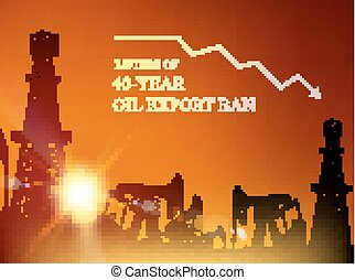 Oil derrick infographic. - 40 year oil export ban. Oil...
