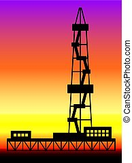 Oil derrick landscape - Illustration of the oil derrick on...