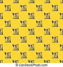 Oil derrick pattern vector - Oil derrick pattern seamless...