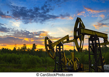 Oil derrick pumps oil or natural gas from underground.