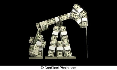 Oil derrick made from dollars wads, loop-able 3d animation
