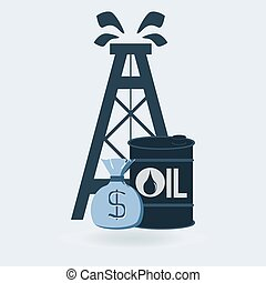 oil derrick with money bag and barrel